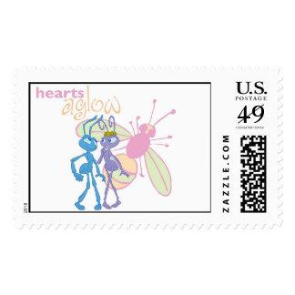 A Bug's Life Princess Atta and Flik Hearts Aglow Stamp Zazzle_stamp