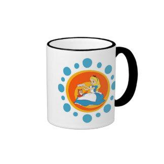 Alice in Wonderland's Alice and Dinah in Circle Ringer Coffee Mug