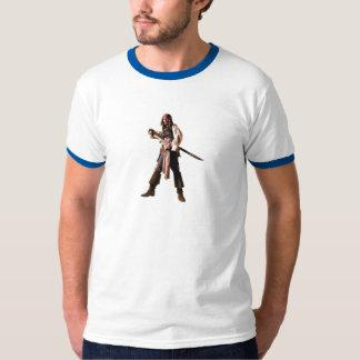 Captain jack sparrow standing drawing sword t shirt