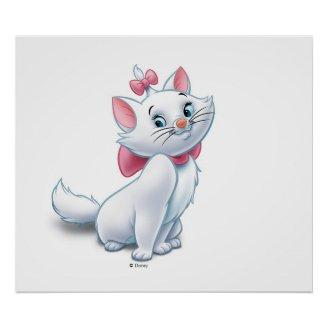 Cute Aristocats White and Pink Cat Disney Poster