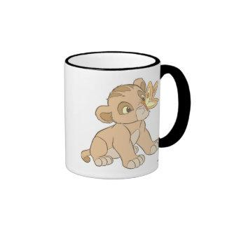 Lion King Simba cub butterfly on nose Disney Ringer Coffee Mug